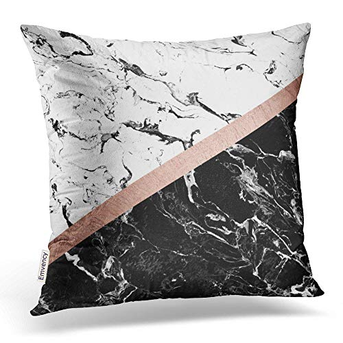 Accrocn Throw Pillow Covers Modern Black White Marble Color Block Rose Gold Pillowcases Polyester 18 x 18 Inch Cushion Decorative Pillowcase Square With Hidden Zipper Home Sofa