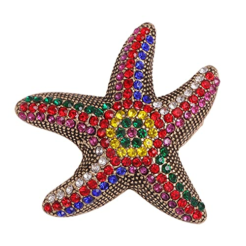 LNSTORE Colorido Rhinestone Starfish Broche, 4,5 cm * 4,5 cm, Pin de Broche de Cristal Animal Lindo Femenino, joyería de Moda Retro Elegante y con Estilo
