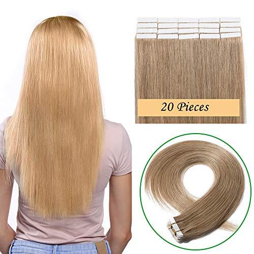 SEGO Extension sans Clip Cheveux Naturel Adhesif Humain Meche Remy - 35CM 27#Blond Foncé 20 PCS 40g (2g/Pièces) - Tape In Vrai Bande Rajout a Froid Invisible