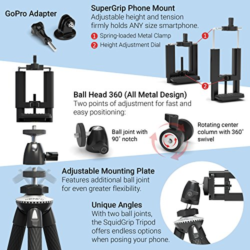 Product Image 7: Xenvo SquidGrip Flexible Cell Phone Tripod and Portable Action Camera Holder – Compatible with iPhone, GoPro, Android, Samsung, Google Pixel and All Mobile Phones