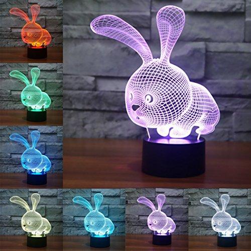 3D Optical Illusion Lampe LED Nachtlichter Hase Modell, LSMY Touch Tischlampe Haus Dekoration 7 Farben Einzigartige Lichteffekte 1.5m USB Kabel zum Kinder Geschenk