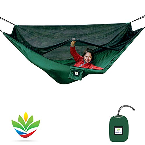Hammock Bliss No-See-Um No More - The Ultimate Bug Free Camping Hammock - 100' / 250 cm Rope Per Side Included - Fully Reversible - Change The Way You Camp Forever