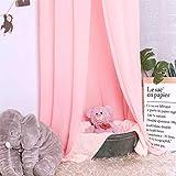 Minetom Betthimmel für Kinder Baby Baldachin Spielzimmer Fotografieren rund Höhe 240cm Prinzessin Chiffon hängende Moskitonnetz für Schlafzimmer Dekoration für Bett und Schlafzimmer (Rosa) - 4