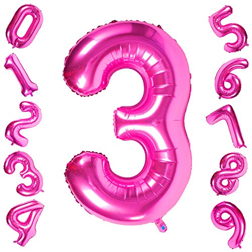 40 Inch Giant Pink Number 3 Balloon,Foil Helium Digital Balloons for Birthday Anniversary Party Festival Decorations