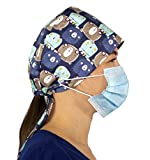 Working Cap with Button and Sweatband Adjustable Tie Back Bouffant Hats Printed Multi Color for Woman Man