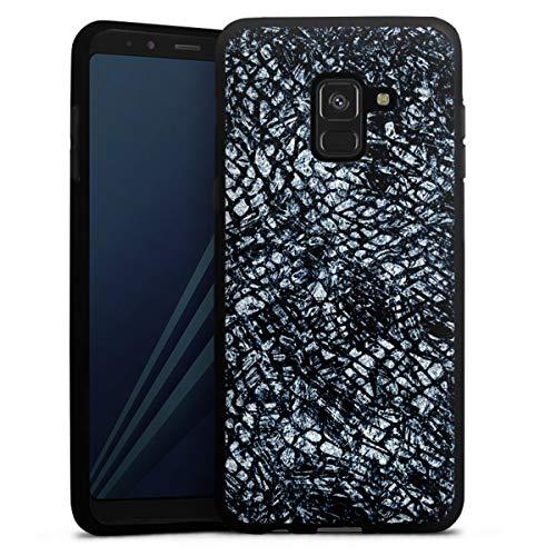 DeinDesign Silikon Hülle kompatibel mit Samsung Galaxy A8 Duos 2018 Hülle schwarz Handyhülle Leder Schlange Glitzer Erscheinungsbild