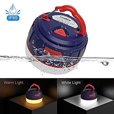 FOGEEK [Upgrade Version] Portable Camping Lantern, Mini Rechargeable Tent Light, Warm Light/White Light,Emergency Light, 5200mAh Power Bank,Water Resistant,Fireproof, Magnet Base, 6 Light Modes