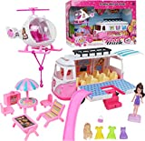 TeganPlay Toy Camper Playset for Girls Includes RV Van Helicopter Doll and Lots of Accessories for Ages 3 to 8 Years Old