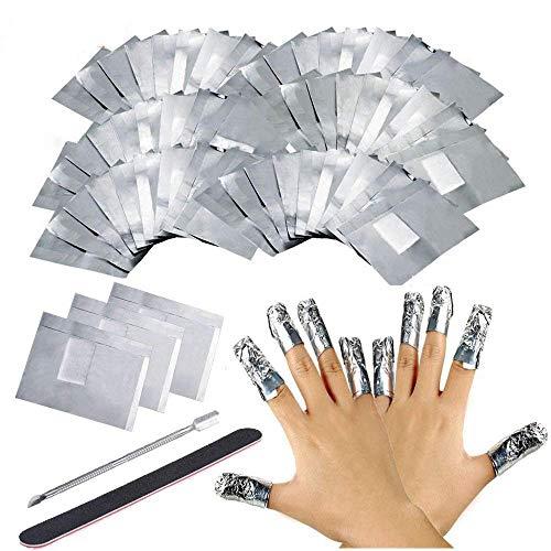 Ealicere 200 Stück Ultradünnes Nail Polish Remover Wraps Pads, Nagellack Remover Aluminiumfolie und 1 Stück Nagelhaut Schieber und 1 Nagelfeile Streifen