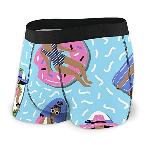 Calzoncillos tipo bóxer para hombre, diseño de dibujos animados de verano en la piscina, de secado rápido