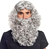 Peluca y Barba Gris Rey Mago Medieval Papá Noel Accesorio Disfraz - Pelucas de Disfraces
