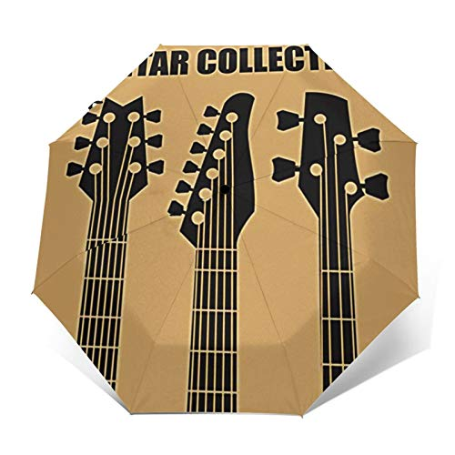 Paraguas Plegable Automático Impermeable Mástil Guitarras Música Eléctrica, Paraguas De Viaje Compacto...