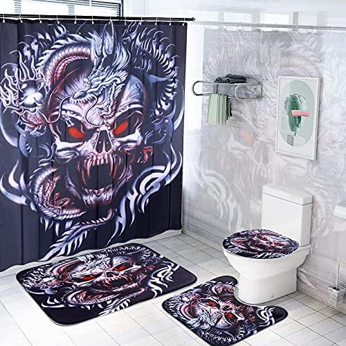 Halloween Duschvorhang Set, zootop Durable Skull Dragon Printed Wasserdichtes Badezimmer-Vorhang-Set mit 12 Haken Rutschfester Badezimmerteppich Badematte Toilettenteppich Halloween-Dekor (71