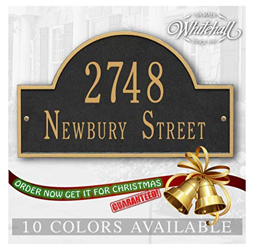 Metal Address Plaque Personalized Cast with Arch top (Large Option). Display Your Address and Street Name. Custom House Number Sign. Wall Mounted Sign