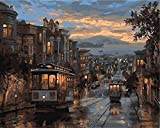 Painting by Numbers Kits DIY Canvas Paint for Adults Kids Beginner-Tram Under night-16x20 inches(Without Frame)