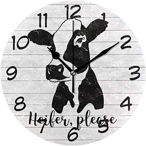 Heifer Please Cow Round Wall Clock Silent Non Ticking Battery Operated 10 Inch Decorative Clock Art Quiet Desk Clock