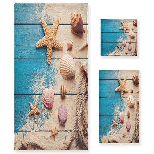 Qilmy Juego de 3 toallas de concha de mar, juego de toallas decorativas de baño, toallas suaves absorbentes de secado rápido para el baño, con toalla de baño, toalla de mano y paño