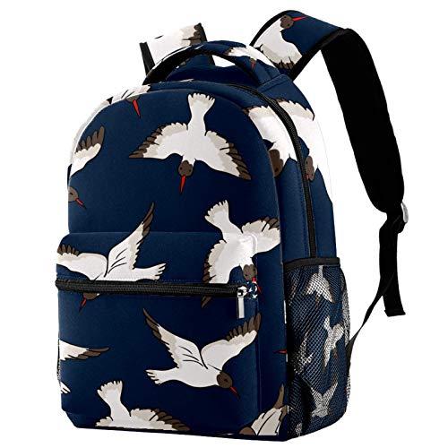 Mochila de viaje con diseño de pájaro blanco y azul marino con fondo escolar, para mujeres, adolescentes, niñas y niños