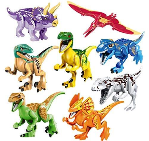 Liberty Imports Dino World Dinosaur Building Blocks Miniature Action Figures Jurassic Toys - Kids Bulk Party Favors Gift Pack (Set of 16)