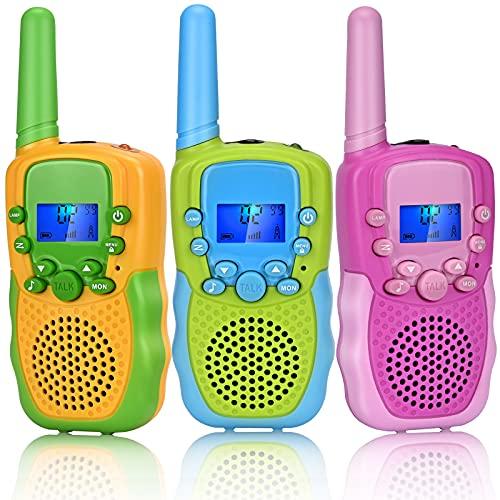 Tsmine Spielzeug 3-12 Jahren Jungen - 3er Set Kinder Walkie Talkies 8 Kanal Mädchen Spiele Spielzeug 3 Meilen Reichweite Funkgeräte Geschenk für 5 6 8 10 12 Jährige Junge mit Taschenlampe für Camping