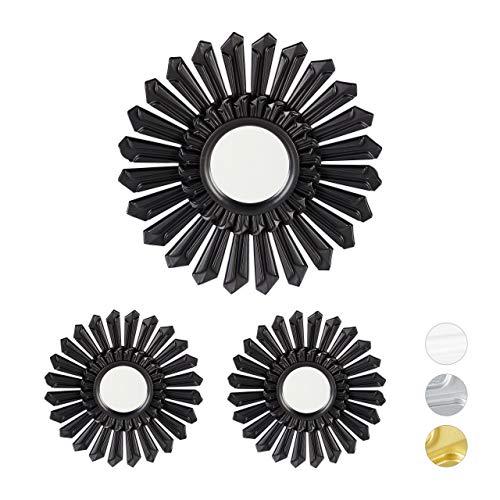 Relaxdays Dekospiegel Sonne, 3er Set, runde Hängespiegel, Wanddeko mit Aufhängung, Kunststoff Rahmen, Ø 25 cm, schwarz