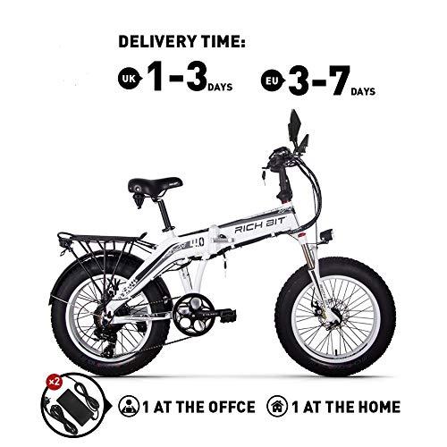Rich BIT RT016 Elektrische fiets, 48 V x 500 watt, MTB, 20 inch, vouwfiets, 9,6 Ah, LG lithiumbatterij, 4,0 inch, Fat Tire heren- / damesfiets