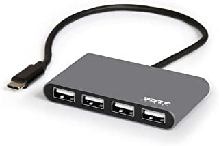 موزع USB 4 منافذ USB 2.0 إلى النوع C من بورت ديزاينز
