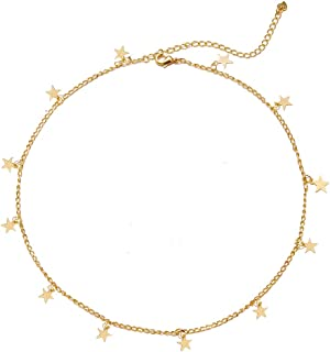 Women Dainty Star Choker Necklace Gold Tassle Star Pandent Chian for Girls Collar Jewelry Gift