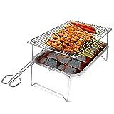 WYYUE Portátil Parrillas para Barbacoa Fácil de Limpiar BBQ Rack Cesta para Pescado Grilling - con Bandeja para Actividades Picnic al Aire Libre