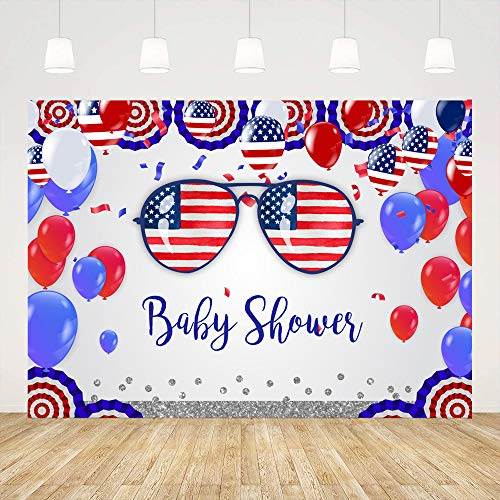 Ticuenicoa Independence Day Baby Shower Photo Booth Backdrop 4th of July USA Flag Background for Photography Sunglass Balloons Celebration Babyshower Party Decorations Gender Reveal Banner 5x3ft