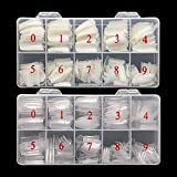 1000PCS False Nails Tips Lady French Style Acrylic Artificial Tip Manicure Half Cover with Box of 10 Sizes for Nail Art Salons and Home DIY (Natural+Clear)