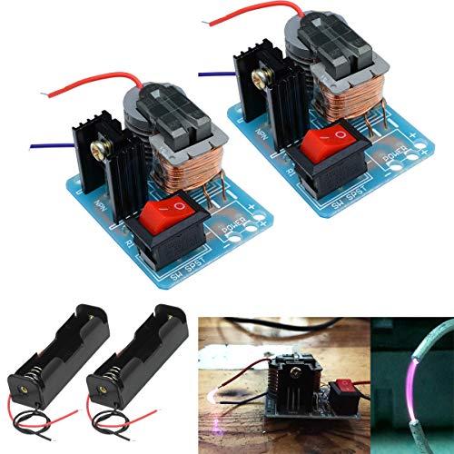 Youmile 2PACK 15KV Zündgenerator Hochspannungstransformator Spark Arc Zündspule Modul Hochfrequenz Boost Step Up 18650 DIY Kit 3,7 V Core Transformer Suite Mit 18650 Batteriehalter