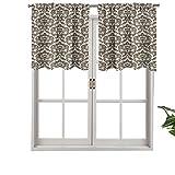 Hiiiman Cenefa de cortina con aislamiento térmico para barra, diseño victoriano antiguo, juego de 2, 42 x 24 pulgadas para dormitorio, baño y cocina