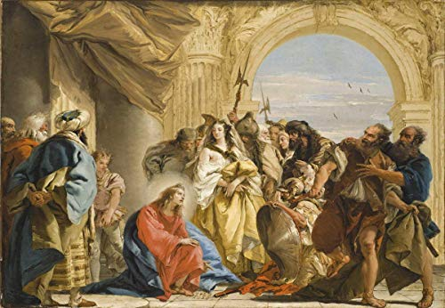 Home Pub Bar Deco Wall Decor Poster 12x16in,Giovanni Battista Tiepolo(Christ and The Woman Taken in Adultery),Metal Plaque Art Decoration for Bar Hotel Office Bedroom Garden