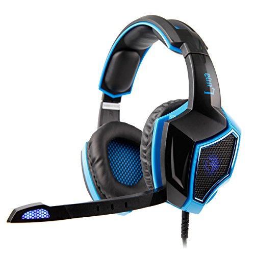 SADES SA-968 Luna PC Gaming Auriculares estéreo, 7.1 Virtual Surround, Cable Anti Enredos, LED, negro/azul