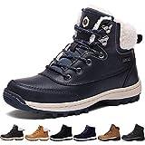 Sixspace Bottes Fourrees Femmes Neige Hiver Antidérapant Chaussures de Chaudes Mode Bottine Hommes en Cuir Boots de Confort Trekking Alpinisme Bottes de Randonnée (Bleu, 39 EU)