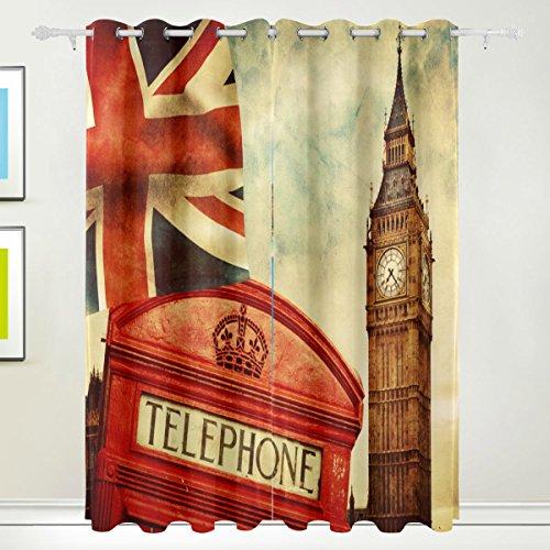 COOSUN Red Telefonzelle Big Ben Die Union Jack Flagge Blackout Vorhänge Verdunkelung Thermische Isolierte...