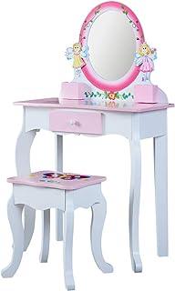 Coiffeuses enfants avec tabouret et miroir pour filles - Meuble de maquillage - coiffeuse enfant bois 3 ans+ Rose et blanc