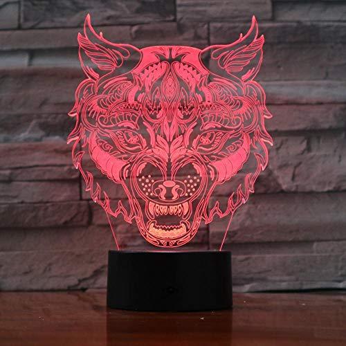 Jiushixw 3D-nachtlampje van acryl, met tafellamp, kleurverandering, afstandsbediening, tafellamp, outdoor, motief leeuwenkop, luipaard