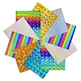 JANDJPACKAGING Holographic Heat Transfer Vinyl - 12'x10' Holographic HTV Patterned Vinyl for Iron On Clothing and Other Fabric 12'x10' 10Pack Iron on Vinyl Bundle