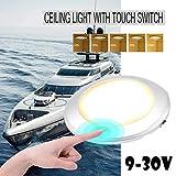 MASO Luz interior de yate, 9 – 30 V, luz LED blanca de techo, lámpara táctil, impermeable, para barco, caravana, caravana, remolque, viaje
