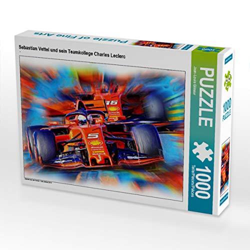 CALVENDO Puzzle Sebastian Vettel und Sein Teamkollege Charles Leclerc 1000 Teile Lege-Größe 64 x 48 cm Foto-Puzzle Bild von DeVerviers