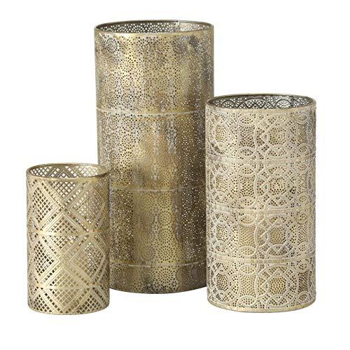 Juego de 3 candelabros de metal, 20-40 cm, diámetro 12-16 cm, color dorado y crema