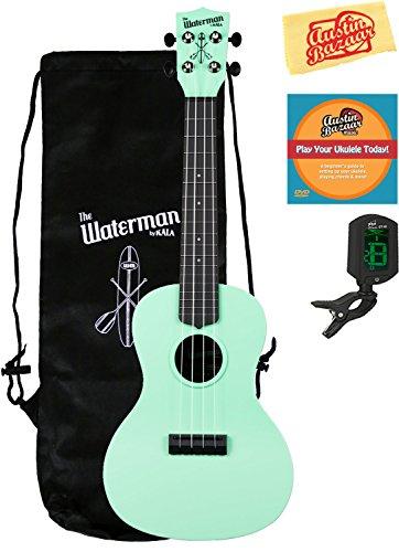Kala KA-CWB-GN Waterman Concert Ukulele - Matte Green Bundle with Gig Bag, Tuner, Austin Bazaar Instructional DVD, and Polishing Cloth