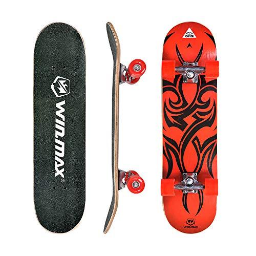 WIN.MAX Skateboard, Komplettboard mit ABEC Kugellager, 31 * 8 Zoll Holzboard aus 9 Fach Verleimte Ahornholz (Etnic-RD)