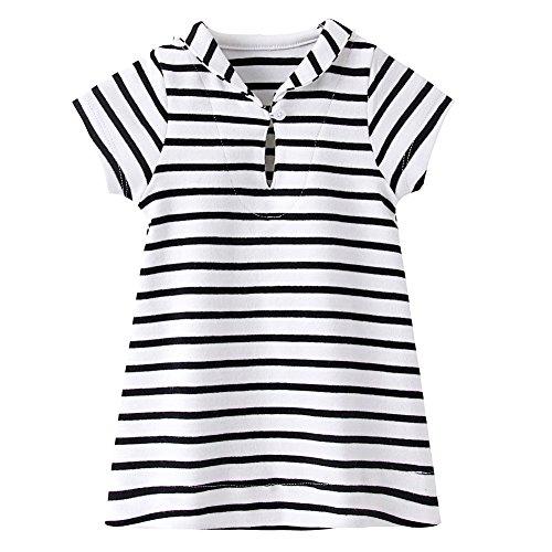 ZHUANNIAN - Vestido de rayas para bebé, manga corta, cuello marinero, ropa de verano Blanco blanco 6 mes
