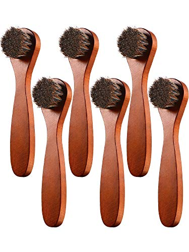 Youngjoy 6 Pieces Horsehair Shine Shoes Brush kit Polish Dauber Applicators, Brown, 6 x 1.5 inches