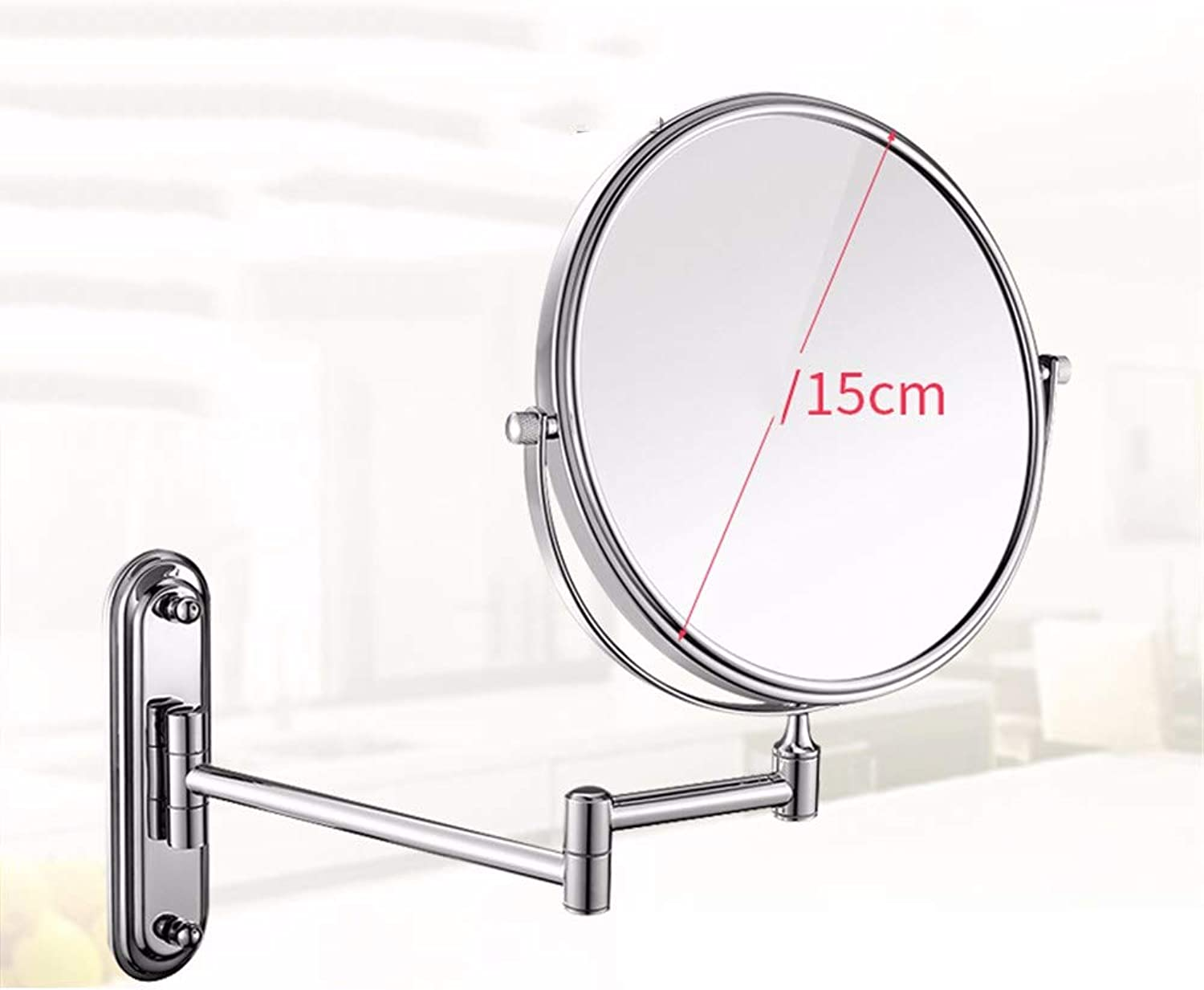 Shaving Mirror Wall Mounted Bathroom Mirror 3X Magnification Bathroom Double-Sided Round Swivel Vanity Mirror with 360° redatable 8Inch Extendable Arm Stainless Steel,8inch