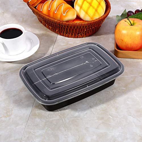 Contenedores de preparación de comidas, caja fuerte Bento Box 1000ml resina de polipropileno hecho de grado alimenticio (negro)