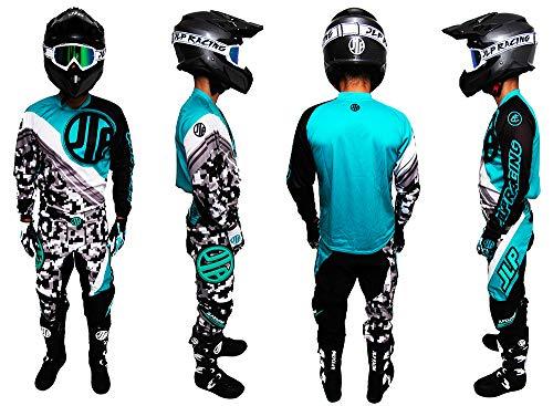 Kinder-Outfit 9 – 10 Jahre Moto Cross Quad MTB BMX Hose Handschuhe Trikot Neon Türkis JLP Racing Größe 26 US/XL